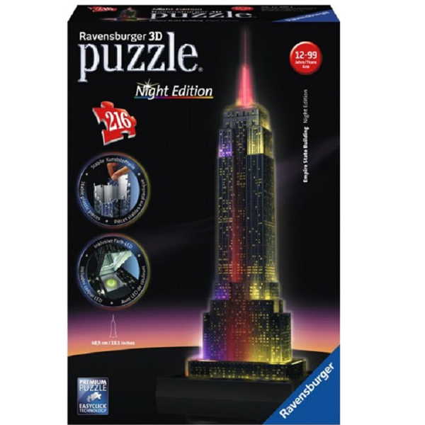 Puzzle 3D  Empire State Building - Lumineaza Noaptea , 216 Piese