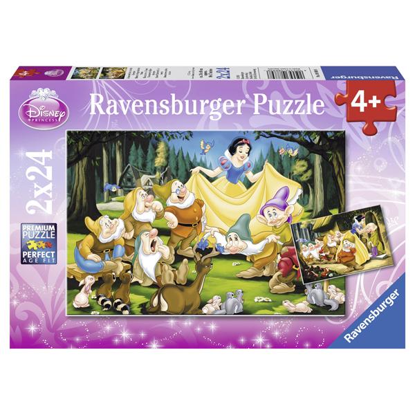 Puzzle Alba Ca Zapada Si Cei Sapte Pitici, 2x24 piese de la Ravensburger