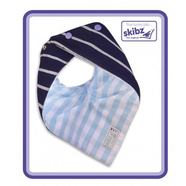 Baveta/Esarfa bebe Doublez French Stripe/Pale Blue Gingham