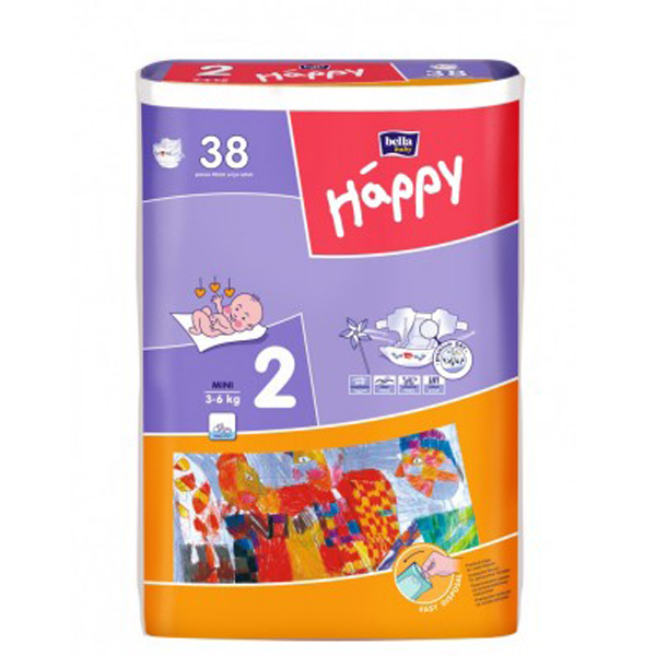 Scutece Happy Mini 3-6 Kg 38 buc
