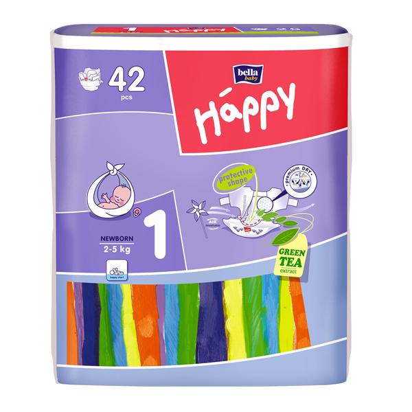 Scutece Happy New Born, 42 buc (2-5 kg)