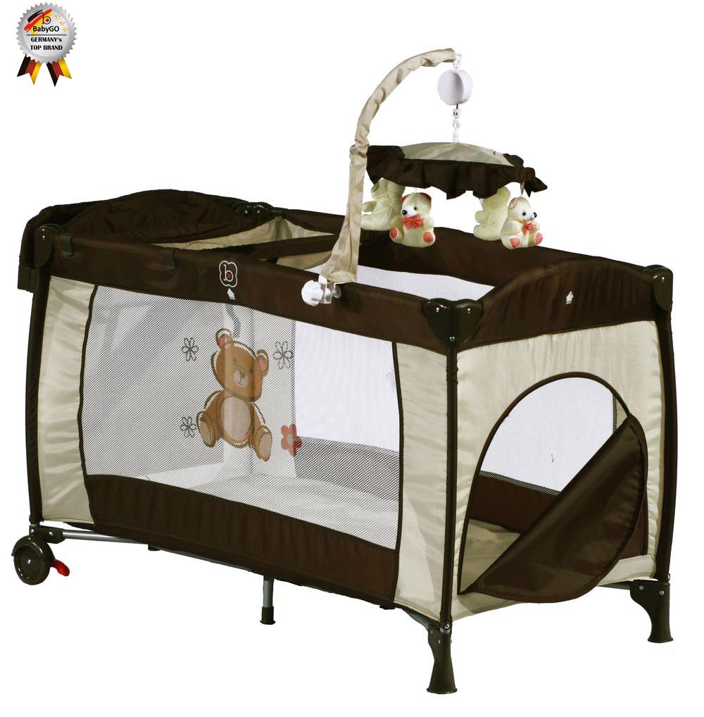 Patut pliant cu 2 nivele si mini-carusel Sleeper Deluxe Maro