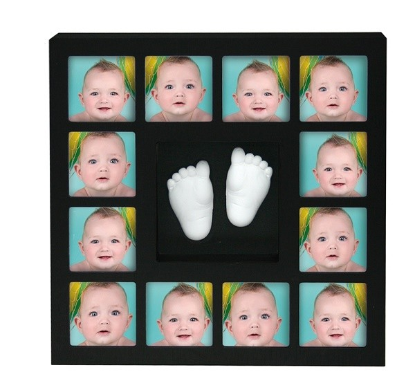 Rama foto cu mulaj 3D 'My First 12 Months Wall of Fame' Negru