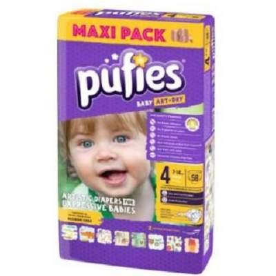 Scutece nr. 4 Pufies Baby Art Maxi, 7-14 kg, 58 bucati